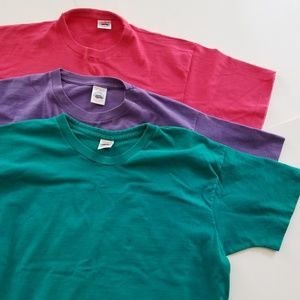 Vintage | Lot of Three Basic T's Teal Purple Pink